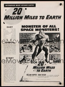 Cool Item Of the Week: 20 Million Miles to Earth pressbook