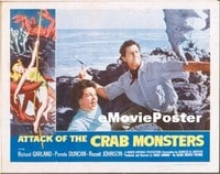 VHP7 332 ATTACK OF THE CRAB MONSTERS lobby card '57 man, woman & ax!