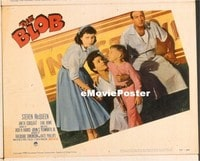 VHP7 365 BLOB lobby card #7 '58 four frightened people at diner!