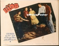 VHP7 368 BLOB lobby card #5 '58 Steve McQueen & teens in woods!