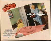 VHP7 369 BLOB lobby card #6 '58 Civil Defense chief gets dressed!