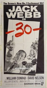 3214 -30- three-sheet movie poster '59 Jack Webb, William Conrad, newspapers
