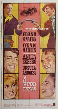3215 4 FOR TEXAS three-sheet movie poster '64 Frank Sinatra, Dean Martin