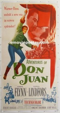 1004 ADVENTURES OF DON JUAN linenbacked three-sheet movie poster '49 Errol Flynn