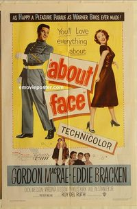 1705 ABOUT FACE one-sheet movie poster '52 Gordon MacRae, Eddie Bracken