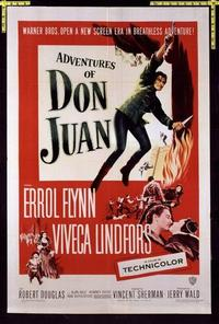 1708 ADVENTURES OF DON JUAN one-sheet movie poster '49 Errol Flynn, Lindfors