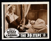 #216d 39 STEPS #5 lobby card R38 Carroll escapes sleeping Donat!!