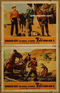 4401 7 MEN FROM NOW 2 lobby cards '56 Randolph Scott, Russell