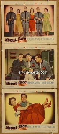 4302 ABOUT FACE 3 lobby cards '52 Gordon MacRae, Eddie Bracken