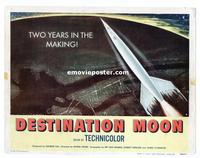 #285 DESTINATION MOON title lobby card '50 Robert A. Heinlein, Pichel!