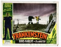 #054 FRANKENSTEIN lobby card #2 R51 digging in the graveyard!!