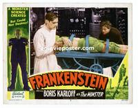 #053 FRANKENSTEIN lobby card #3 R51 Dr. w/monster in the lab!!