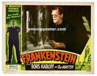 #048 FRANKENSTEIN lobby card #6 R51 Boris Karloff close up!!