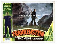 #052 FRANKENSTEIN lobby card #7 R51 Boris Karloff on cliff!!
