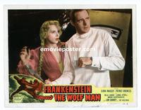 #070 FRANKENSTEIN MEETS THE WOLF MAN lobby card #2 R49 Massey!