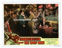 #069 FRANKENSTEIN MEETS THE WOLF MAN lobby card #5 R49 big Lon!!