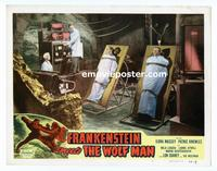 #066 FRANKENSTEIN MEETS THE WOLF MAN lobby card #6 R49 in lab!!