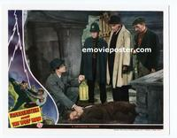 #021 FRANKENSTEIN MEETS THE WOLF MAN #7 lobby card '43 dead guy!!