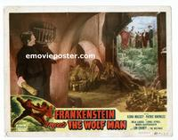 #067 FRANKENSTEIN MEETS THE WOLF MAN lobby card #8 R49 trapped!!