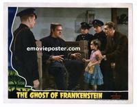 #009 GHOST OF FRANKENSTEIN #3 lobby card '42 Lon Chaney on stand!!