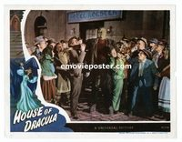 #032 HOUSE OF DRACULA #2 lobby card '45 Frankenstein with crowd!!