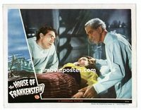 #028 HOUSE OF FRANKENSTEIN #6 lobby card '44 Karloff & girl!!