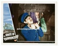 #029 HOUSE OF FRANKENSTEIN #7 lobby card '44 Karloff chokes guard!!