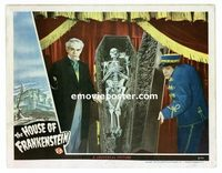 #027 HOUSE OF FRANKENSTEIN #5 lobby card '44 Karloff, casket!!