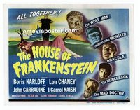 #023 HOUSE OF FRANKENSTEIN title lobby card '44 Boris Karloff, Chaney!