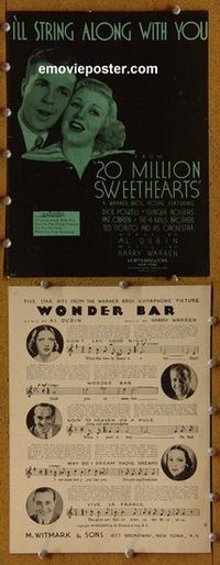2627 20 MILLION SWEETHEARTS movie sheet music '34 Dick Powell