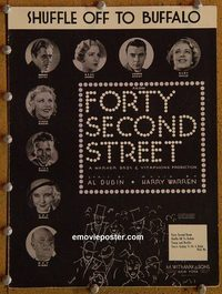 2628 42ND STREET #1 movie sheet music '33 Powell, Ginger Rogers