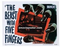 2034 BEAST WITH FIVE FINGERS #2 lobby card '47 Lorre & casket!