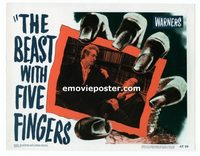 2036 BEAST WITH FIVE FINGERS #4 lobby card '47 Peter Lorre choked!