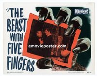 2037 BEAST WITH FIVE FINGERS #5 lobby card '47 Alda grabs Lorre!