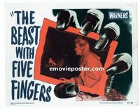 2038 BEAST WITH FIVE FINGERS #6 lobby card '47 hand scares girl!