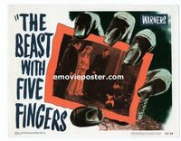 2040 BEAST WITH FIVE FINGERS #8 lobby card '47 Lorre & dead body!