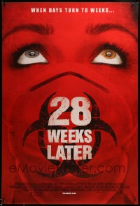 2001UF 28 WEEKS LATER 1sh '07 close up of woman wearing biohazard mask, when days turn to weeks!
