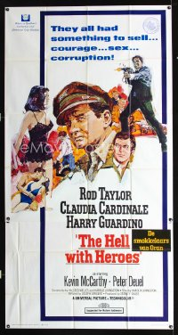 0797FF HELL WITH HEROES 3sh '68 Rod Taylor, Claudia Cardinale, they all had something to sell!