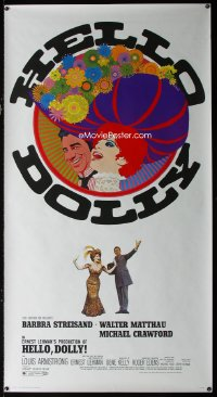 0798UF HELLO DOLLY 3sh '70 best art of Barbra Streisand & Walter Matthau by Richard Amsel!