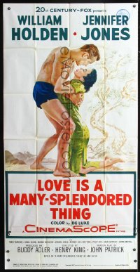 0802FF LOVE IS A MANY-SPLENDORED THING 3sh '55 art of bare-chested William Holden & Jennifer Jones!