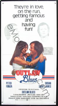0805TF OUTLAW BLUES int'l 3sh '77 great image of crook Peter Fonda & sexy Susan Saint James!