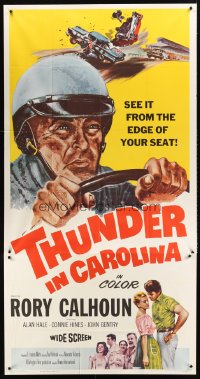 1237TF THUNDER IN CAROLINA 3sh '60 Rory Calhoun, artwork of the World Series of stock car racing!