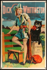 1513TF DICK WHITTINGTON stage play English 40x60 '30s cool artwork of sexy female lead & cat!
