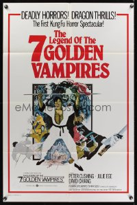 0872FF 7 BROTHERS MEET DRACULA int'l 1sh '74 The Legend of the 7 Golden Vampires, different art!