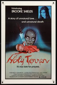 1204FF ALICE SWEET ALICE 1sh R81 first Brooke Shields, disturbing knife-in-doll image, Holy Terror!