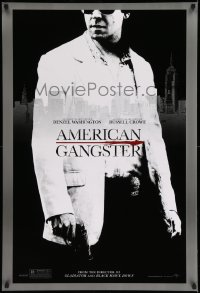 2016UF AMERICAN GANGSTER teaser DS 1sh '07 c/u of Russell Crowe with gun, Ridley Scott directed!