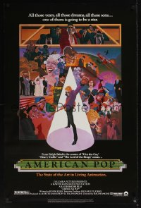 0042UF AMERICAN POP 1sh '81 cool rock & roll art by Wilson McClean & Ralph Bakshi!