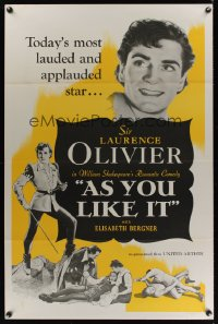 0876TF AS YOU LIKE IT 1sh R49 Sir Laurence Olivier in William Shakespeare's romantic comedy!