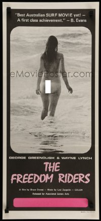 2462FF FREEDOM RIDERS Aust daybill '72 completely naked Aussie surfer girl, black border design!
