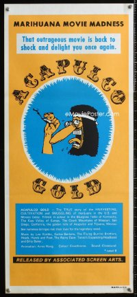 0817FF ACAPULCO GOLD Aust daybill R80s marijuana movie madness, Freak Brothers cartoon art!
